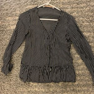 Zara black and white striped peplum top xs
